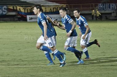 Roberto Ovelar selló la victoria 'azul'. Foto: Millonarios FC.