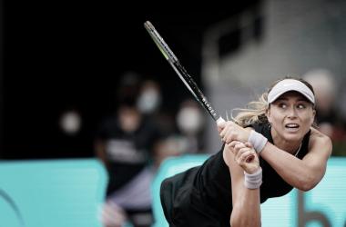 Paula Badosa en el duelo ante Teichmann. (Fuente: Twitter @MutuaMadridOpen)