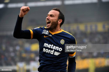 Serie A veteran and Verona Captain Giampaolo Pazzini<div>Photo credit Pier Marco Tacca/Getty Images</div>