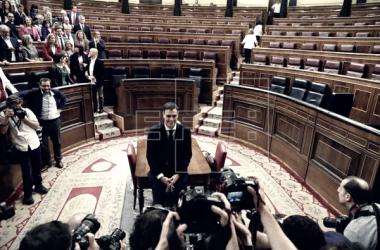 Pedro Sánchez tras la votación // Foto de Agencia EFE