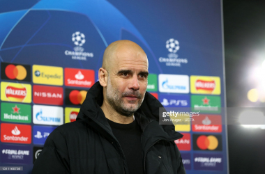 MANCHESTER, ENGLAND - APRIL 06: Pep Guardiola, Manager of Manchester City is interviewed following their team's victory in the UEFA Champions League Quarter Final match between Manchester City and Borussia Dortmund at Etihad Stadium on April 06, 2021 in Manchester, England. Sporting stadiums around the UK remain under strict restrictions due to the Coronavirus Pandemic as Government social distancing laws prohibit fans inside venues resulting in games being played behind closed doors. (Photo by Jan Kruger - UEFA/UEFA via Getty Images)