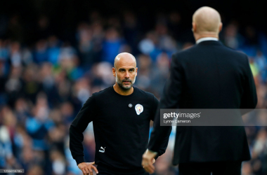 Pep Guardiola goes to greet Sean Dyche: Lynne Cameron - Manchester City FC/GettyImages