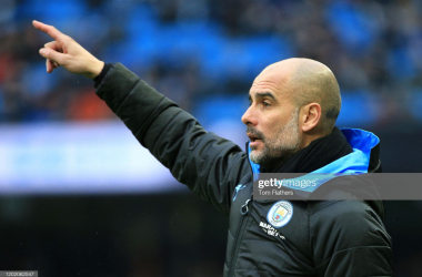 <div>MANCHESTER, ENGLAND - JANUARY 26: Pep Guardiola, Manager of Manchester City during the FA Cup Fourth Round match between Manchester City and Fulham at Etihad Stadium on January 26, 2020 in Manchester, England. (Photo by Tom Flathers/Manchester City FC via Getty Images)</div><div><br></div>