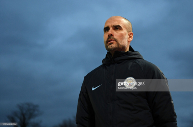 <div>NEWPORT, WALES - FEBRUARY 16: Josep Guardiola, Manager of Manchester City looks on during the FA Cup Fifth Round match between Newport County AFC and Manchester City at Rodney Parade on February 16, 2019 in Newport, United Kingdom. (Photo by Michael Regan/Getty Images)</div>