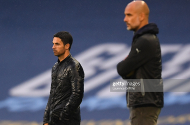 <div>MANCHESTER, ENGLAND - JUNE 17: Mikel Arteta, Manager of Arsenal and Pep Guardiola, Manager of Manchester City look on during the Premier League match between Manchester City and Arsenal FC at Etihad Stadium on June 17, 2020 in Manchester, United Kingdom. (Photo by Laurence Griffiths/Getty Images)</div><div><br></div>