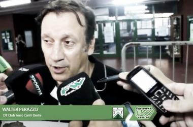 el entrenador hablando luego del partido frente a Independiente Rivadavia / Fuente: FerroWeb