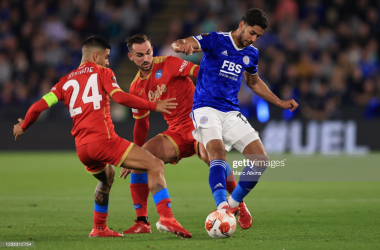 Ayoze Perez (right) battles for the ball against Napoli on Thursday night in the Europa League