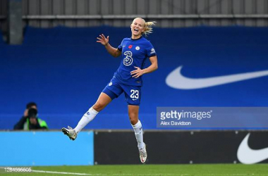Pernille Harder was in top form for the Blues today.  Photo by Alex Davidson via Getty Images.