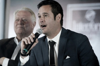 Mike Petke addresses the media after being named Real Salt Lake's new head coach as team owner Dell Loy Hansen looks on.   Photo: Al Hartmann, The Salt Lake Tribune