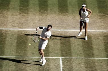 Peya y Melichar, durante el encuentro. Foto: Wimbledon