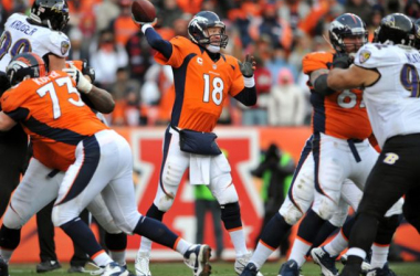 Peyton Manning #18 of the Denver Broncos throws a pass against the Baltimore Ravens during the AFC Divisional Playoff Game at Sports Authority Field at Mile High on January 12, 2013 in Denver, Colorado.(January 11, 2013- Source: Dustin Bradford/Gett