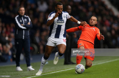 SEPTEMBER 22: Matt Phillips of West Bromwich Albion and Jiri Skalak of Millwall during the Sky Bet Championship match between West Bromwich Albion and Millwall at The Hawthorns on September 22, 2018 in West Bromwich, England. (Photo by Adam Fradgley - AMA/West Bromwich Albion FC via Getty Images)