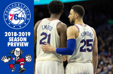Philadelphia 76ers guard Ben Simmons (25) and center Joel Embiid (21) talk during a break in fourth quarter action against the Brooklyn Nets at Wells Fargo Center. |Bill Streicher-USA TODAY Sports|