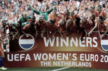 Netherlands lift the 2017 UEFA Women's European Championship trophy. (Photo by Maja Hitij/Getty Images)