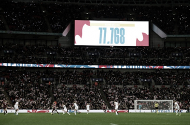 A record breaking crowd of 77,768 for England's Lionesses at Wembley Stadium. (Photo by Paul Harding/Getty Images)
