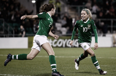 North Carolina Courage midfielder Denise O'Sullivan (10) celebrates with her Ireland teammate.