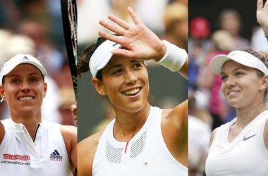 (Left to right) Angelique Kerber, Garbiñe Muguruza, Simona Halep, who were Wimbledon ladies' singles champions in the closing three years of the 2010s. Photo: Getty Images