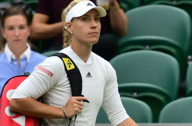 Angelique Kerber walks out on court for a match at the Wimbledon Championships in 2021. Photo: Peter Menzel