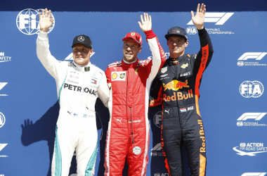 Valtteri Bottas, Sebastian Vettel et Max Verstappen. Copyright Photonews