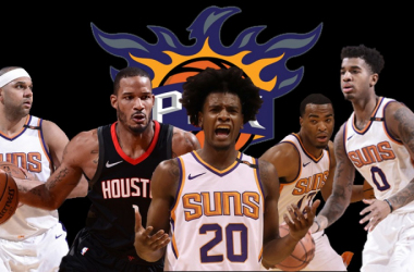 Left to right: Jared Dudley, Trevor Ariza, Josh Jackson, T.J. Warren and Marquese Chriss