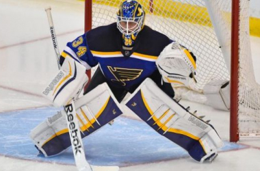 St. Louis Blues Goaltender Jake Allen during a home game in the 2014-15 season. Photo by Jasen Vinlove.