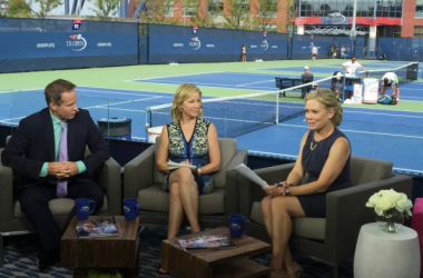 ESPN unveiled a new studio at the US Open right by the practice courts. From left to right: Patrick McEnroe, Chris Evert, and Chris McKendry. Photo Source: ESPNMediaZone.com