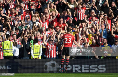 Pierre-Emile Hojbjerg celebrates his goal in front of The Saints faithful. Image courtesy of Mike Hewitt on Getty Images.
