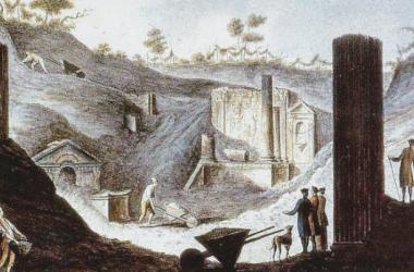 Trabajos en los Templos de Pompeya en el siglo XVIII, de Pietro Fabris(1740-1792) Foto: Public Domain
