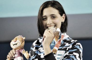 Delfina Pignatello logró su segunda medalla en natación. Foto: COA