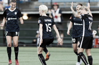 Seattle's Megan Rapinoe (15) celebrates with a dance after scoring her first goal of the match. | Photo courtesy @ReignFC from @JaneGPhoto
