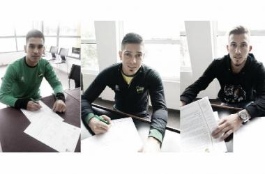 Piovi, Rodríguez y Herrera estampan sus firmas. Foto: Club Defensa y Justicia.