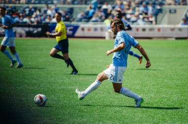 Andrea Pirlo of NYCFC with Jose Carlos Rivero in the background. Photo courtesy NYCFC.COM