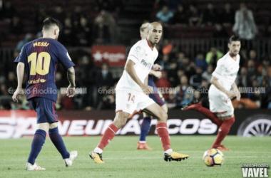 Pizarro durante el choque en el Camp Nou ante el Barça / Foto: Ernesto Aradilla