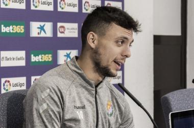Óscar Plano en sala de prensa / Real Valladolid