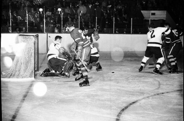 Pulled from the archives of the City of Toronto, this picture dates back to the 1950s. Shown are the Boston Bruins and Toronto Maple Leafs.