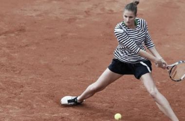 Karolina Pliskova in action at 2017 Prague Open [Photo credit: J&T Banka Prague Open website]