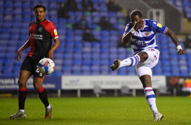 READING, ENGLAND - JANUARY 19: Lucas Joao of Reading scores their side's first goal during the Sky Bet Championship match between Reading and Coventry City at Madejski Stadium on January 19, 2021 in Reading, England. Sporting stadiums around the UK remain under strict restrictions due to the Coronavirus Pandemic as Government social distancing laws prohibit fans inside venues resulting in games being played behind closed doors. (Photo by Justin Setterfield/Getty Images)
