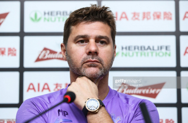 JULY 24: Coach Mauricio Pochettino of Tottenham Hotspur attends the press conference at Yuanshen Stadium on July 24, 2019 in Shanghai, China. (Photo by Tottenham Hotspur FC via Getty Images/Tottenham Hotspur FC via Getty Images via Getty Images)