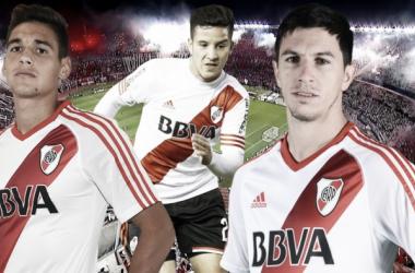 Ignacio Fernández, Lucas Martínez Quarta y Sebastián Driussi. Tres destacados en un equipo que jugó un partido casi perfecto. FOTO: Nicolás Kralj.