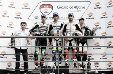 Podium primera carrera Portimao 2014. Foto:fimcevrepsol.com