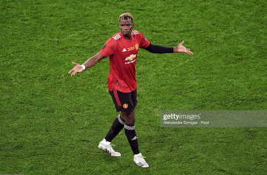 MAY 26: Paul Pogba of Manchester United gestures during the UEFA Europa League Final between Villarreal CF and Manchester United at Gdansk Arena on May 26, 2021 in Gdansk, Poland. (Photo by Aleksandra Szmigiel - Pool/Getty Images)