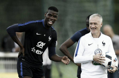 Pogba and Deschamps in training (photo: Yahoo)