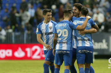 Los jugadores del Málaga celebrando uno de los goles del partido ante el Numancia | Foto: La Liga