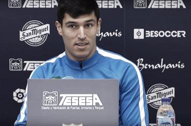 Diego González, en la rueda de prensa <vía Málaga CF>