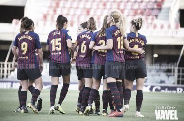Jugadoras del FC Barcelona Femenino celebrando un gol. FOTO: Noelia Déniz
