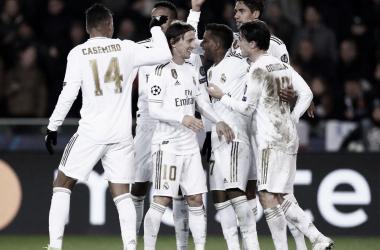 Los jugadores madridistas celebran uno de los goles ante el Brujas/ Foto: Real Madrid