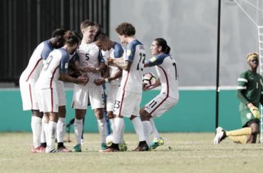 Celebración de uno de los goles de los USMNT    Imagen: ussoccer.com