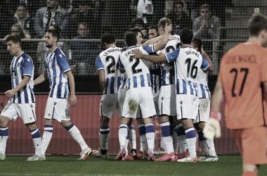 La Real Sociedad celebra la victoria contra el Sturm Graz // Foto: Real Sociedad