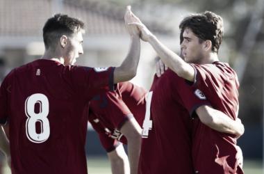 Osasuna Promesas celebra un gol anotado. Foto tomada de www.osasuna.es