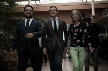 Pablo Casado acudiendo a uno de los actos de campaña. Fuente: Cuenta Oficial de Facebook del Partido Popular (@pp).